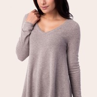 100% cashmere sweater with asymmetircal hem | Repeat Cashmere