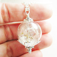 Dandelion Seed Glass Orb Terrarium Necklace, Small Orb In Silver, Bridesmaids Gifts, Hipster Jewelry