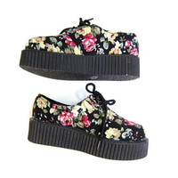 90s Floral Platform Shoes Lace Up Flower Revival Grunge Shoes Boho CREEPERS Chunky Fabric Sneakers Club Shoes Oxfords School Girl Womens 7