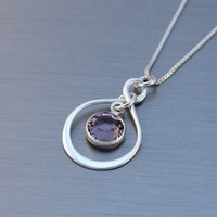 Birthstone necklace birthday gift sterling silver infinity necklace with Swarovski birthstone in a box - gifts for her