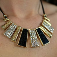 Glam Women's Bib Black and Gold Necklace