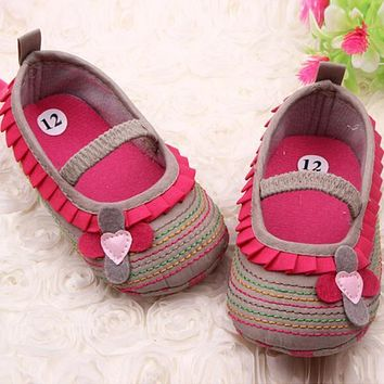 Cotton Cloth Four-Flower Baby Shoes Striped Sole Shoes for Kids Cute Toddler Shoes