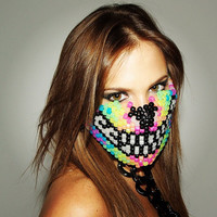 Rainbow Wolf Kandi Bead Mask, Rave Wear, Rave Attire & Gear, Halloween Mask and For Music Festivals and Concerts, EDC, Ultra, Tomorrowland