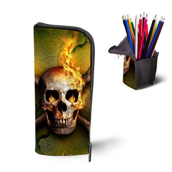 Multifunction Cosmetic Cases Women Make Up Bag Punk Skull Print Kids Boys Pencil Pen Bag for School Boys Girls Stationary Holder