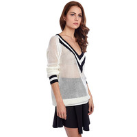 CREAM TENNIS STYLE SWEATER WITH V-NECKLINE