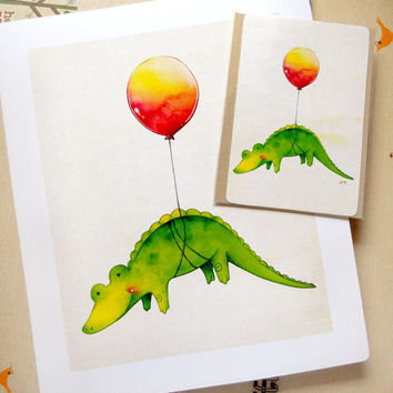 Cute Adorable Alligator with Red Balloon Illustration 4''x 6'' inch Print - Children's Nursery Art Decor - Available in 5''x7'' & 8''x10''