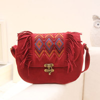 Leather Crossbody Shoulder Bag - Womens Leather Embroidery Bag - Red Crossbody Bags and Leather Purses