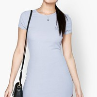 Lizy High Neck Curved Hem Bodycon Dress