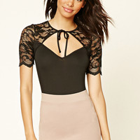 Lace Panel Cutout Bodysuit