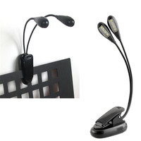 New Dual 2 Arm 8 LED Clip-On Light For Piano Music Stand Laptop Travel Portable
