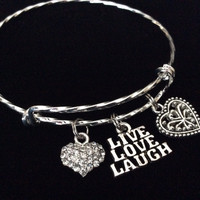 Live Love Laugh Double Hearts Twisted Silver Expandable Charm Bracelet Silver Plated Bangle Bracelet
