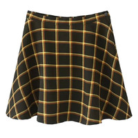 Black And Yellow Plaid High Waisted Skater Skirt
