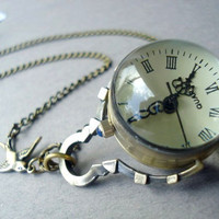 A watch Necklace Once upon a time in Antique Brass by MDsparks
