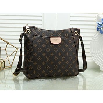 LV hot seller of fashionable ladies casual printed shopping shoulder bag Coffee LV print