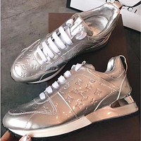 LV Louis Vuitton Popular Women Comfortable Sneakers Sport Shoes Silvery I