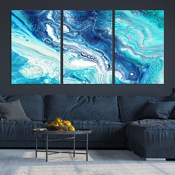 Extra Large Blue Abstract Wall Art Canvas Print for Living Room Kitchen Home Office Decor