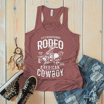 Women's Rodeo Tank American Cowboy Shirts Western Graphic Tee Southern Tradition Horse Tshirt Top