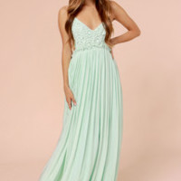 Blooming Prairie Crocheted Mint Maxi Dress