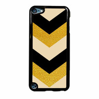 Chevron Classy Black And Gold Printed iPod Touch 5th Generation Case