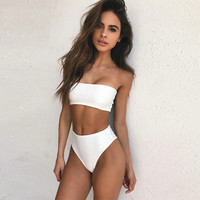 Bikini Set beach body 2017 Hot Sexy Solid Bandeau Bikinis Women Padded Swimsuits High Waist  Summer Style Bathing Suits Brazilian Swimwear