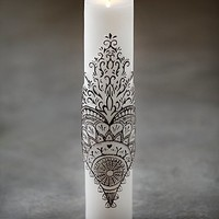 Free People Womens Henna Heart Tall Pillar Candle