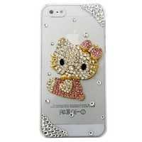 "MinisDesign® 3D Bling Crystal Flat Back Rhinestone Pink Hello Kitty Transparent Case, Cover for The New ""Apple iPhone 5"" (Color:Pink, Fits: At&t, Sprint, Verizon)"