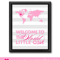 striped baby wall decor custom baby girl decor new parents gift welcome to the world baby nursery wall decor girls room new baby wall art