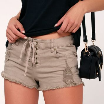 Lite Hearted Taupe Lace-Up Cutoff Denim Shorts
