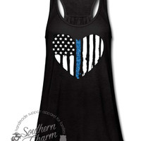Thin Blue Line Grunge American Flag Heart Top - Southern Charm Designs