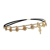 Gold Pearl Bead Floral Drop Hairband