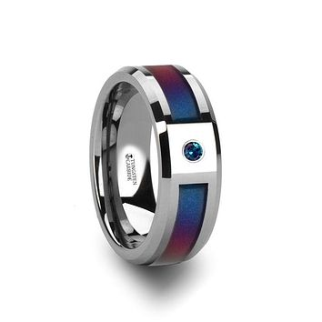 CERULEAN Tungsten Carbide Ring with Blue/Purple Color Changing Inlay and Alexandrite Setting - 8mm