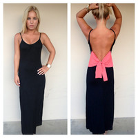 Black Low Back Maxi with Pink Bow