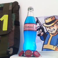 Fallout inspired Blue Nuka Cola Bottle  Plus Free Bottle Caps