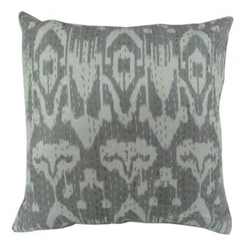 Gray Decorative Ikat Kantha Throw Cushion Cover For Living Room