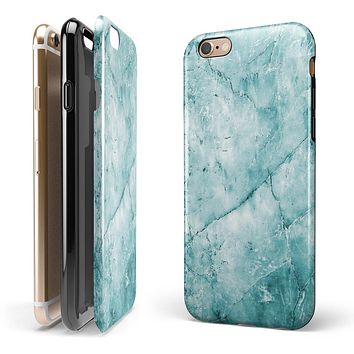 Cracked Turquise Marble Surface iPhone 6/6s or 6/6s Plus 2-Piece Hybrid INK-Fuzed Case