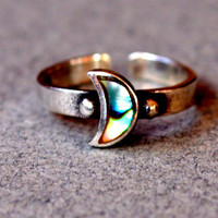 Moon Toe Ring Multicolor Green Yellow Crescent 925 Sterling Silver Adjustable Toering