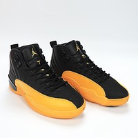 "Vip Air Jordan 12, 130690-070 ""University Gold"" the black yellow AJ12 Jordan 12 generation are the original box The first layer litchi skin true carbon plate Correct version to market the highest version"
