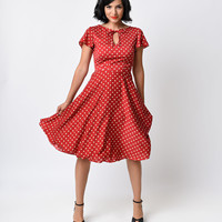 Unique Vintage 1940s Style Red & Ivory Dot Formosa Swing Dress