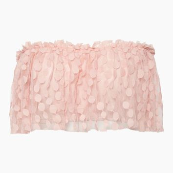 Linda Spot Net Ruffle Tube Top - Blush Pink