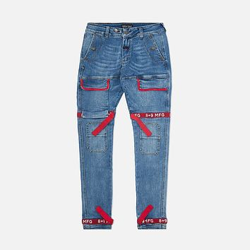 Strapped Up Slim Utility Medium Washed Jeans Red
