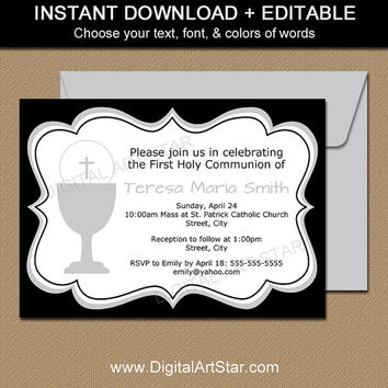 First Communion Invitation Printable - 1st Holy Communion Invitations for Boys or Girls - Digital First Communion Invites Black White Silver