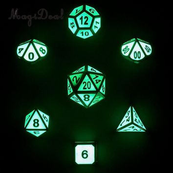 MagiDeal Hot Sale Zinc Alloy Glow In The Dark 7 Dice Set D4-D20 for Funny D&D RPG Games Dungeons Dragons Dice DND MTG Games Gift