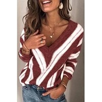 Meg V-Neck Striped Sweater