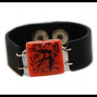 Black Bird Eco-Spirit Recycled Glass & Leather Bracelet - Spirit Lala Store