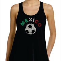 MEXICO Glittery Flowy Racer Back Tank Top World Cup Brazil 2014 Soccer Football
