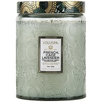 VOLUSPA LARGE EMBOSSED GLASS JAR CANDLE - FRENCH CADE LAVENDER