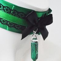 Gothic witch choker - Moss crystal - kitten play collar - dark wiccan wicca victorian lolita kittenplay ddlg goth princess petplay collar