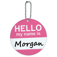 Morgan Hello My Name Is Round ID Card Luggage Tag