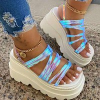 Hot summer new women's shoes transparent sandals with strappy sole shoes laser  White soles+Blue laser vamp