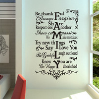 Be Thanks Family Wall stickers Wall Decal Removable Art Home Mural Decor Vinyl Be Thanks Family Wall decal words wall decal